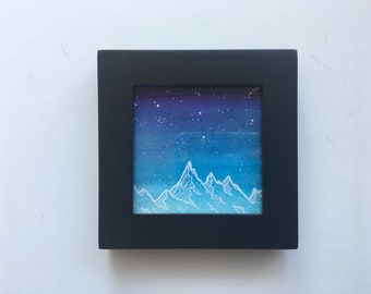 Watercolor Galaxy Painting, Mountain Painting, Blue Painting, Watercolor Night Sky Painting, Nature Watercolor, Framed Painting, Mini Art