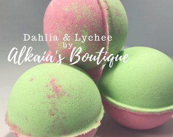 Dahlia & Lychee Bath Bomb - Summer Spring Bath Bombs, Handmade, Mother's Day, Mom, Sister, Aunt, Birthday, Party Favors