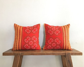 """16"""" by 16"""" Set of 2 Cushion Covers Vintage Hmong Hill Tribe Ethnic Batik Thai Cross Stitch"""