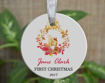 Personalized Christmas Ornament, Baby First Christmas ornament, Custom Ornament, Newborn baby gift, Squirrel ornament, Christmas gift. o012