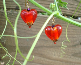 Red Heart Earrings Red Glass Heart Earrings Victorian Romance earrings,Bohemian Bling Handmade in California