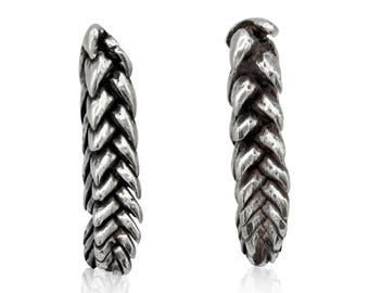 sterling silver bar studs, zipper plant, live casts of the succulent cresol muscosa, sterling silver braided earring