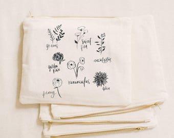 Makeup Bag - Flower Types, Handmade in USA, 100% Organic Cotton, Shop Small, Pencil Case, Bridesmaid Gift, Wedding Favor