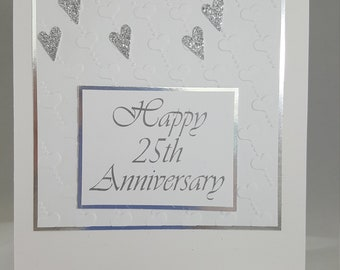 Happy 25th Anniversary! - Handmade - Greeting Card -Silver - Hearts - Embossed Hearts Background - With Envelope - Free Shipping