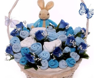 Peter Rabbit Gift, Baby Bouquet Peter Rabbit, Peter Rabbit baby gift, Beatrix Potter baby gift, baby clothing bouquet Peter Rabbit baby gift
