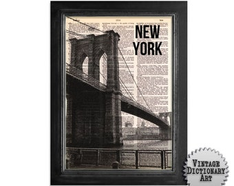NY Brooklyn Bridge 02 - Print on Recycled Vintage Dictionary Paper - 8x10.5
