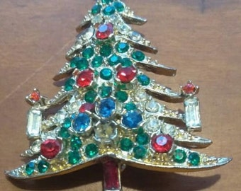 Vintage Pell Christmas Tree Brooch Pin Multi color rhinestones Signed Beautiful Retro Holiday Christmas Winter