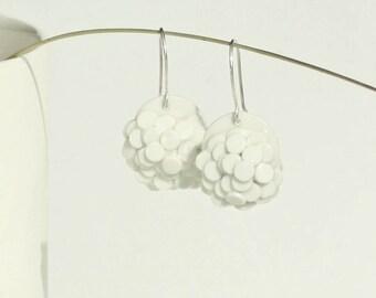 Minimalist White Porcelain Earrings. Elegant Dangle Ceramic Earrings. Wedding Dainty Circle Earrings Design by CONCEPTstudio.