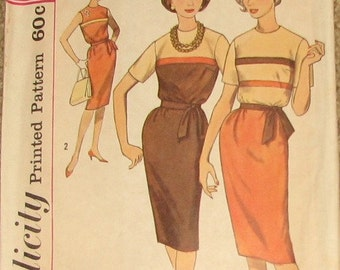 Sheath Dress with Tie Belt 1950s Vintage Sewing Pattern SIMPLICITY 4258, bust 34
