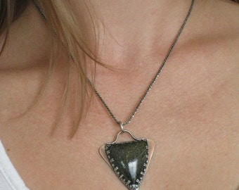 Double Sided Triangle - Reversible Handmade Original Jewelry - One of a kind Artisan Jewelry