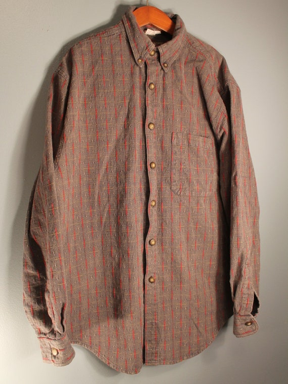 Territory Ahead Men Cotton Shirt Brick Pinkish Paisley Size M