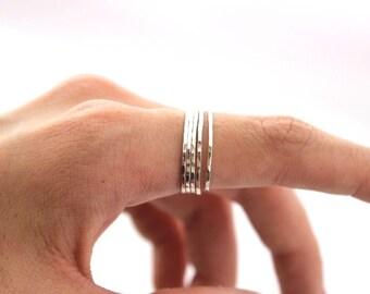 Set of 5 Hammered Micro Skinny Rings, Skinny Sterling Silver Stacking Rings