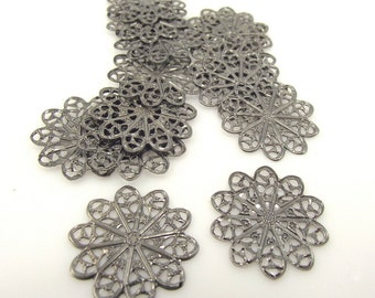 Gunmetal Filigree Flower, 18 x 18 mm, 50 Pieces