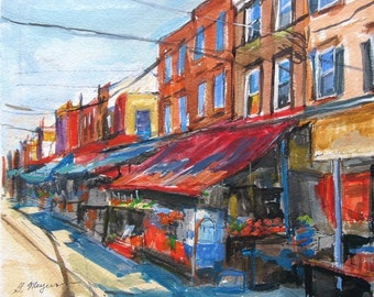 Philadelphia Painting. Philadelphia Art. 9th Street Italian Market South Philly Art Print Watercolor Red and Blue Painting by Gwen Meyerson