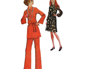 1970's McCall's 2681 Women's Pullover, Raglan Sleeve Dress, Top, Straight Leg Pants Size 10   Bust 31.5in/83cm  Vintage Sewing Pattern UNCUT