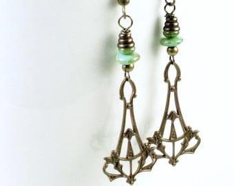 Filigree Drop Earrings - Brass Jewelry, Turquoise Earrings