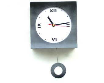 Wall Pendulum clock, Shaded clock Grey Black 11 inch long, Wooden Wall Hanging Clock, Wall decor gift, Summer home decor, Birthday gift