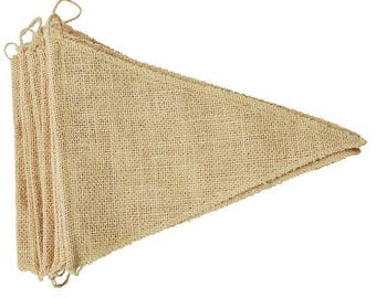 12 PCS DIY Triangle Rustic Burlap Bunting Pennant Garland Shabby Chic Flags for Wedding Banner Decor * free shipping *