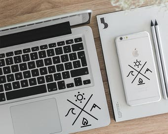 Laptop Sticker, Macbook Decal, Wiccan, Vinyl Sticker, Four Elements Decal, Camping Decal, Explore Decal, Vinyl Sticker