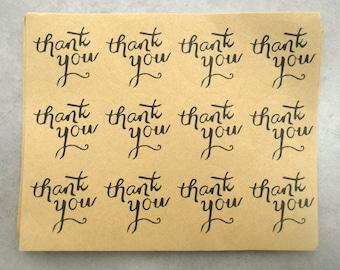 "Set of 24 round ""Thank you"" kraft paper sticker 3.5 cm"