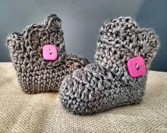 Crochet Baby Bootie - Scalloped Top