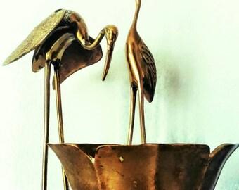 Vintage Golden Brass Lotus Bowl Chinoiserie Planter Asian Trinket Box Hollywood Regency FREE SHIPPING