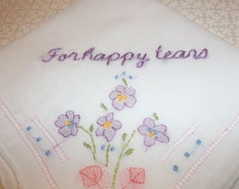 for happy tears, wedding handkerchief, keepsake hankie, hand embroidered text, machine embroidered flowers, wedding gift for bride, blue