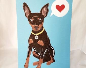 Min Pin Heart Greeting Card