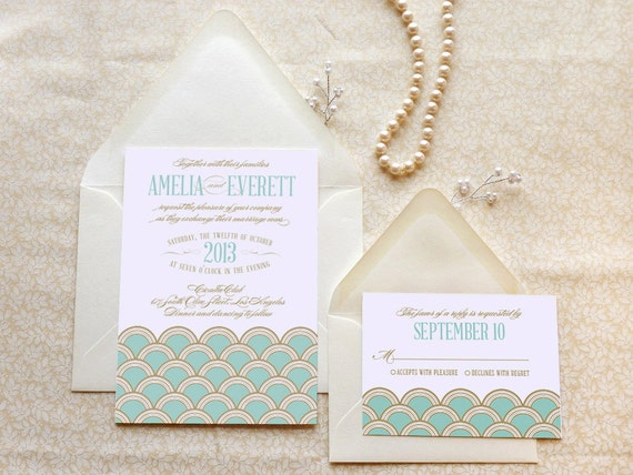 Mint and Gold Scallops Art Deco Printable Wedding Invitations