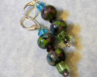 Purple, Green and Aqua Art Glass Lampwork and Crystal Drop Earrings