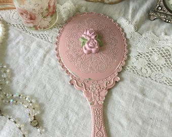 Shabby Hand Mirror, Handheld Vanity mirror, Shabby Pink Rose, chippy distressed, vintage insired hand mirror, Little girls room,pink boudoir