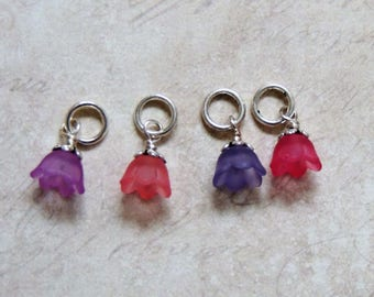Spring flower stitch marker set of 4 purple pink
