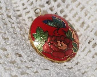 Cloisonne Pendant, Cloisonné Enamel Pendant Necklace Pendant Charm  1960s -
