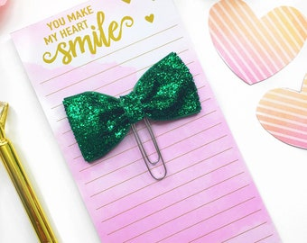 Green Glitter Paperclip / Planner Paper Clip / Green Glitter Bow Planner Clip