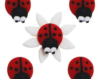 Edible Animal Ladybirds Bug Sugar Cake Topper Cupcake Decoration
