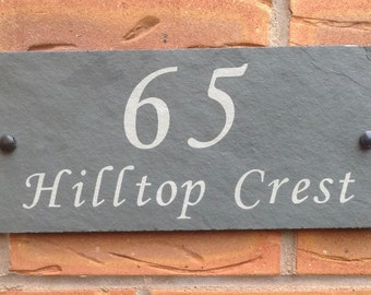 Modern Outdoor Contemporary Green Slate House Number, House Number Sign, 300 x 135mm, House Plaque