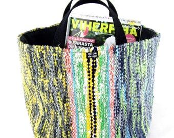 """Basket of recycled rag rugs, 26 cm (10"""")"""