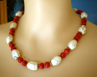 Wonderful Necklace, made with white Barrel Howlite and Sponge Coral Beads, gold colored Lobster Claw