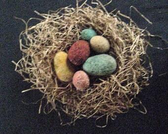 Primitive FOLK ART EGGS--Set of 6 Assorted Quaint Folk Art Eggs-Needle Felted from Wool