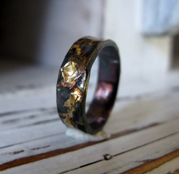 Mens Wedding Band Mens Wedding Ring Black Gold Ring Rustic