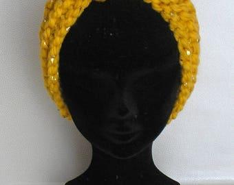 Big Ear warmer headband wool mustard yellow and gold