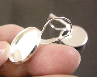 6pc silver finish brass lever back earrings-6193