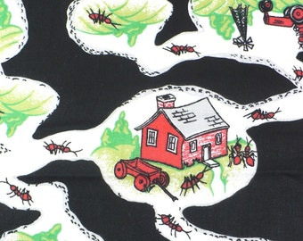 Fabric, quilting, craft, ants, black, red, green, Ant Farm, 1/2 YARD, Last One