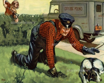 Boy Saves Dog from Dog Catcher! - Great Print For Little Boy's Room - Great Gift for Animal Control Officer #120