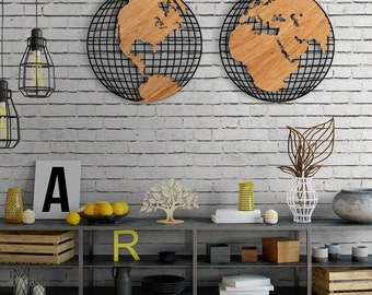 World map decor etsy arcetri metal world map gumiabroncs Image collections