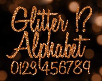 Orange Glitter Alphabet Clipart: Digital Glitter Alphabet Clip Art, Orange Glitter Letter, Large Glitter Letter, Orange Digital Alphabet PNG