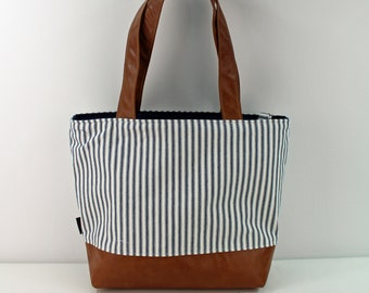 Lulu Large Tote Diaper Bag Navy Pinstripes with PU Leather  - READY to SHIP Shoulder Straps 6 pockets Nappy Bag