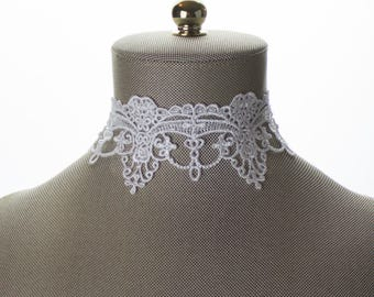 Bridal Choker. Embroidery Wide Lace Choker Necklace. White Choker. Wide Lace Choker. Lace Jewelry. White Lace Choker. Bridal Lace Jewelry