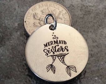 """1 - """"Mermaid Sisters"""" Pendant, New Series, Silver plated necklace, Boho Jewelry, Mermaid pendant, beach necklace, sisters charm"""