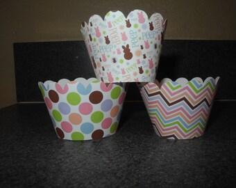 Chevron Spring Easter Cupcake Wrappers   Set of 12 Spring Bunny  Chevron